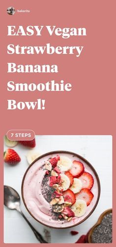An easy vegan strawberry smoothie bowl! It�s a healthy Paleo vegan breakfast or snack made with only a few ingredients. Only 7 steps and so delicious! #smoothiebowl #recipeideas Mexican Breakfast Recipes, Vegan Breakfast, Brunch Recipes, Breakfast Pizza, Breakfast Bowls, Vegan Smoothies, Smoothie Recipes, Raw Food Recipes, Healthy Recipes