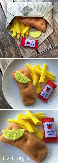 fish and chips felt play food