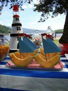 "Photo 6 of Nautical / Birthday ""Nautical Birthday Party!"" Photo 6 of Nautical / Birthday ""Nautical Birthday Party! Baby Shower Marinero, Pool Party Snacks, Pirate Party Snacks, Pirate Themed Food, Pirate Food, Pirate Birthday, Sailor Birthday, Birthday Door, Pirate Baby"