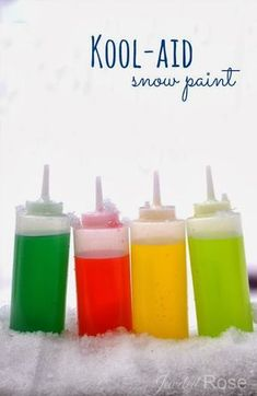 Color your yard with fun concoction. Kool-aid snow paint is super vibrant and smells amazing which makes it even more fun for kids