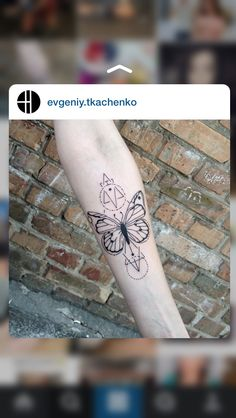 simple black ink butterfly tattoo on forearm with various geometrical figures tattoo ideas. Black Bedroom Furniture Sets. Home Design Ideas