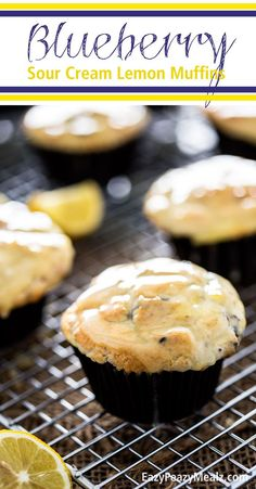Blueberry Sour Cream Lemon Muffins: Tender blueberry muffins stuffed with a sour cream lemon filling, and dipped in a decadent sour cream lemon glaze. I ate the WHOLE batch myself. So good. #ad  - Eazy Peazy Mealz