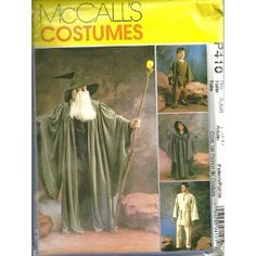 Misses, Mens, Teen Boys, Childrens, Boys And Girls Witches And Wizards Costumes McCall's Costumes Sewing Pattern P410 (Size Adult : Sml-Xlg)