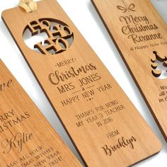 Surprise your child's teacher with the perfect Christmas gift! Our stunning Wooden Bookmarks are a great gift to show your child's appreciation for the past year of schooling. Select from our design options and add your personal touch with the perfect Christmas message. This is the perfect practical gift that can be treasured for years to come. Our bookmarks are professionally laser cut and engraved from honey brown, have your child's teacher amazed.
