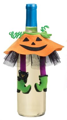 Too cute!!!! $1.99  Wine Bottle Cover Witch Pumpkin Skirt