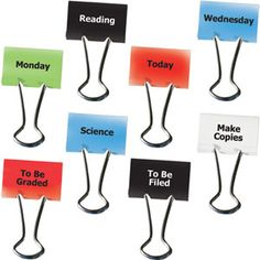 Put words on binder clips for organization --to be graded, make copies, homework,etc. great idea!