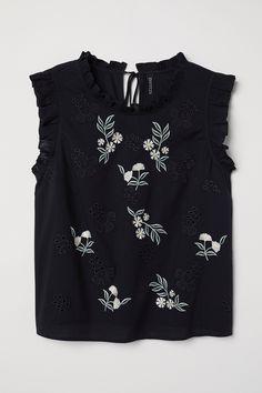 Blouse en coton brodée - Noir/fleuri - FEMME   H&M FR