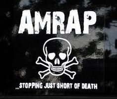 W.O.D. FRIDAY, MAY 15, 2015  JIGGLE JAGGLE BURPEE **AMRAP 3:00** SQUAT **AMRAP 3:00** MANMAKER  (50/35) **AMRAP 3:00** 11 THRUSTER  (75/55) 7 BOX JUMP ***AMRAP  9:00*** ***FOR TOTAL REPS***
