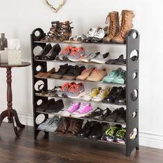 Everyday Home 6 Tier Stackable Shoe Rack 24 Pair Capacity - Black (6 Tier Shoe Rack - Black) (Iron)