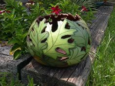 GORGEOUS woodburned gourd - also comes in fall colors.