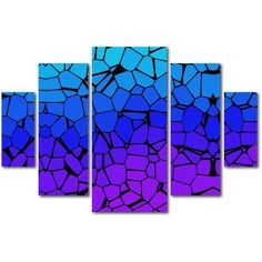 Trademark Fine Art Crystals of Blue and Purple Canvas Art by Masters Fine Art 5-Panel Set, Multicolor
