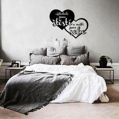 Hledali jsme štěstí a našli jsme sebe - samolepící nápis na stěnu ~ Pieris. Motto, Comforters, Blanket, Bedroom, Inspiration, Furniture, Design, Home Decor, Living Room Ideas