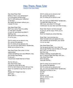 """Hey There, Rose Tyler"" lyrics. Photo by me."