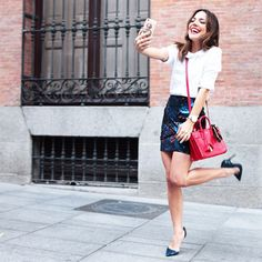 5 Outfits That Do Sparkly Right #refinery29  http://www.refinery29.com/subtle-sparkly-clothes#slide5  Blogger Paula Ordovás knows to document a great embellished #OOTD (with an equally sparkly phone case).