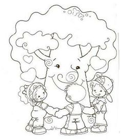 coloring kids and tree Colouring Pages, Free Coloring, Coloring Books, Kindergarten Activities, Preschool, Tree Day, Transportation Theme, Human Drawing, Painted Paper