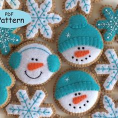 Gingerbread Ornaments, Snowman Christmas Ornaments, Felt Christmas Decorations, Christmas Crafts, Snowflake Ornaments, Christmas Cookies, Diy Ornaments, Beaded Ornaments, Homemade Christmas