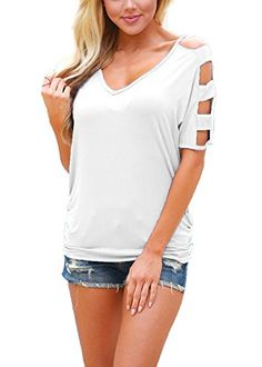 DREAGAL Women's Cut Out Cold Shoulder Short Sleeve T Shirt Casual Tops White Medium  Special Offer: $14.96  411 Reviews Just For Your Beauty–DREAGAL...