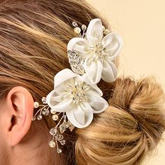 Remedios Ivory Tulle Flower Wedding Hair Comb Wedding Flower Hair Accessory  Hair Pins -- Learn more by visiting the image link. bef982b67711
