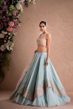 Latest Designer Wedding Lehenga Designs for Indian Bride Sky Blue Layered Embroidered Designer Lehenga Choli Indian Lehenga, Blue Lehenga, Indian Gowns, Pakistani Dresses, Lehenga Style, Silk Lehenga, Silk Dupatta, Indian Wear, Designer Bridal Lehenga