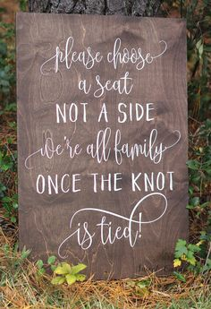 Choose a Seat Not a Side Sign - Rustic Wedding Sign - No Seating Plan Sign for Wedding - - Entertainment Ideas Seating Plan Wedding, Plan Your Wedding, Budget Wedding, Wedding Tips, Trendy Wedding, Perfect Wedding, Fall Wedding, Wedding Events, Wedding Reception
