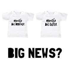 BIG NEWS? Pregnant? Tell it with a tshirt. Zwanger tshirt grote broer, grote zus, big brother, big sister.  Available at vanpauline.nl