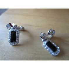 """New Listing Started silvertone new clip on earrings with clear stones,oblong blue stone 1""""drop £1.55"""