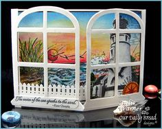 a gatefold window card by Julie Warner.... this double window opens to a very special inside design! See her extra photos in blog post... a stunning card!