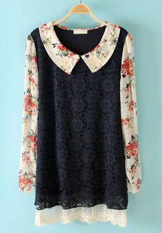 Navy Flowers Embellished Floral Lace Dress #SheInside #dress #collared