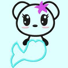 Cute Panda Mermaid APPLIQUE