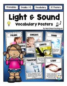 Light and Sound Vocabulary Posters - You will love these 12 colorful eye-catching vocabulary posters for your unit on Light and Sound!This pack includes 12 attractive vocabulary posters with real life photos perfect for bulletin boards and for students to connect to the information.