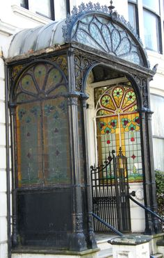 Art Noveau stained glass porch, Brighton.