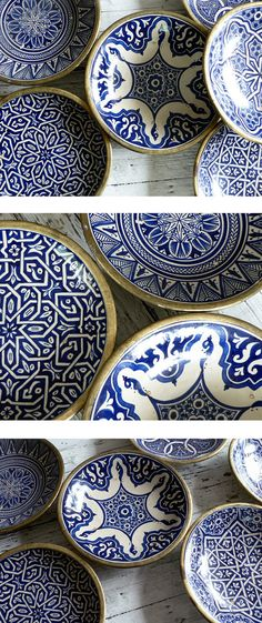 Vintage Moroccan Ceramic Plates and Bowls Blue And White China, Blue China, Ceramic Plates, Ceramic Pottery, Painted Pottery, Cooler Stil, Keramik Design, Plates And Bowls, Moroccan Style