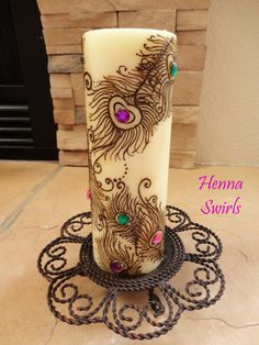 Henna Candle Peacock Feathers Perfect wedding by mehndiart09, $48.00