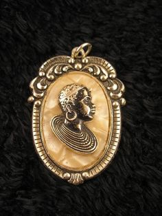 70s African American Woman Cameo Pendant on Pearl by RandomStuff