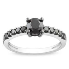@Overstock - Round-cut black diamond engagement-style ringSterling silver jewelryClick here for ring sizing guidehttp://www.overstock.com/Jewelry-Watches/Miadora-Sterling-Silver-1ct-TDW-Black-Diamond-Ring/6580378/product.html?CID=214117 $175.99