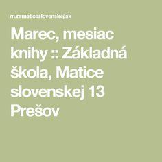 Marec, mesiac knihy :: Základná škola, Matice slovenskej 13 Prešov