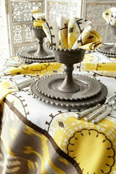colored tablecloth with an elegant table set, modern table