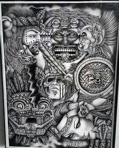 Chicano Arte Indian Tattoo Design, Aztec Tattoo Designs, Chicano Drawings, Chicano Art, Tattoo Drawings, Aztec Warrior Tattoo, Aztec Tattoos Sleeve, Aztec Drawing, Mayan Tattoos