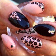..black, peach and leopard print nails / nail art..