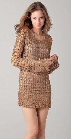 Crochet Dress Ideas for Ladies in Winter Season – Designers Outfits Collection Moda Crochet, Crochet Cardigan, Knit Dress, Knit Crochet, Crochet Tops, Dress Pants, Dress Shoes, Mode Boho, Crochet Woman