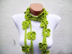 Simple yet effective bright green crocheted lariat scarf