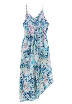 White Floral Irregular Condole Belt Midi Dress
