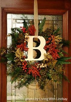 monogrammed fall wreath from www.front porch ideas and more.com