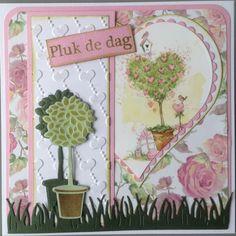 """""""Pluk de dag"""" met plaatje Bunny Love van Marianne Design, hartjes embossingfolder en diverse snijmallen"""