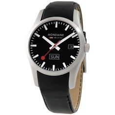 Mondaine - In Stock! - This mens Mondaine Retro watch has a date and day feature, stainless steel case and black leather strap. The watch comes with a Mondaine presentation box. Retro Watches, Gents Watches, Retro Men, Watches Online, Stainless Steel Case, Omega Watch, Black Leather, Mens Fashion, Unisex