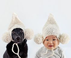 A boy and his rescue dog … with matching headgear?
