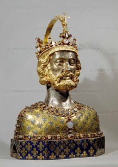 Charlemagne reliquary, containing skull fragments, 1349.