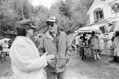 """Goonies never say die - Coast Weekend. Executive producer Steven Spielberg, left, and director Richard Donner talk in front of the Goonies house in Astoria during the filming of """"The Goonies"""" in Richard Donner, Steven Spielberg, 30th Anniversary, Executive Producer, Coast, Sayings, Film, Celebrities, Movie"""