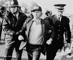 Miners leader Arthur Scargill arrested at Orgreave, South Yorkshire during a confrontation between police and striking miners that became known as the Battle of Orgreave, May 1984.   Photo credit: Peter Arkell