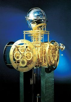 The Türler Clock in Zürich | Clock contains a crystal sphere, a planetarium, various timezones.